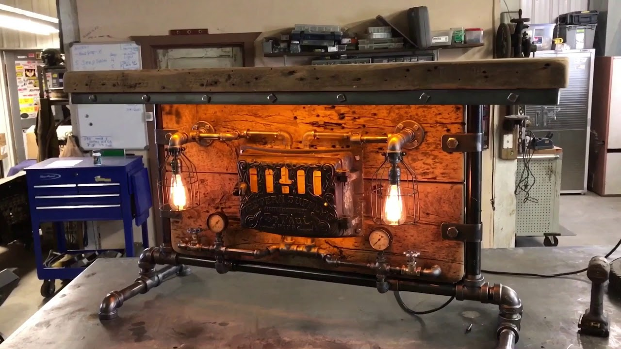 Machine Age Lamps Steampunk Barnwood Table 1891