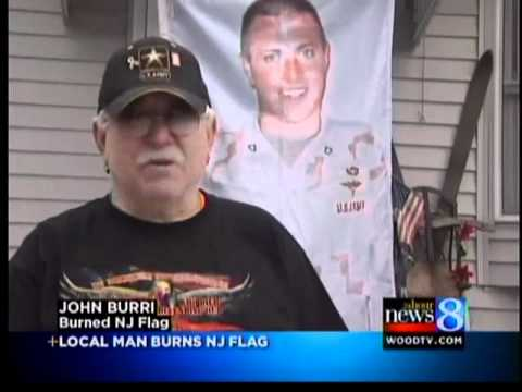 Wyoming man burns New Jersey flag
