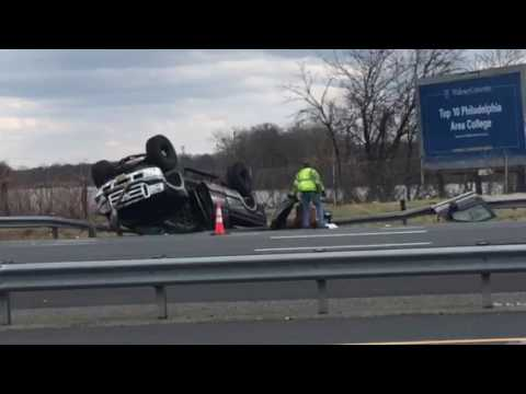 Truck flipped over in Paulsboro,NJ