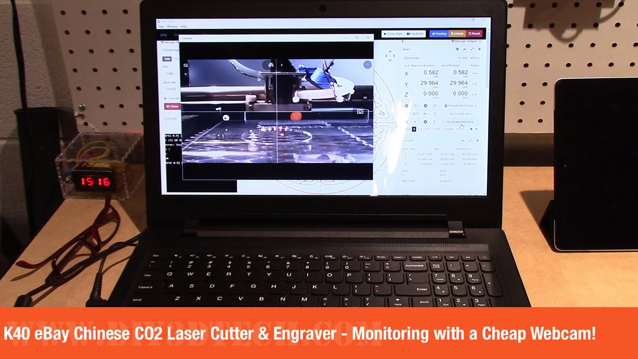 K40 eBay Chinese CO2 Laser Cutter & Engraver - Monitoring with a Cheap  Webcam!