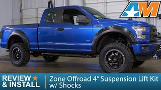 "2015-2017 F-150 Zone Offroad 4"" Suspension Lift Kit w/ Shocks (4WD) Review & Install"
