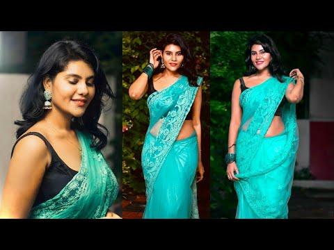 Serial actress nivisha hot saree look hot navel saree hot ...