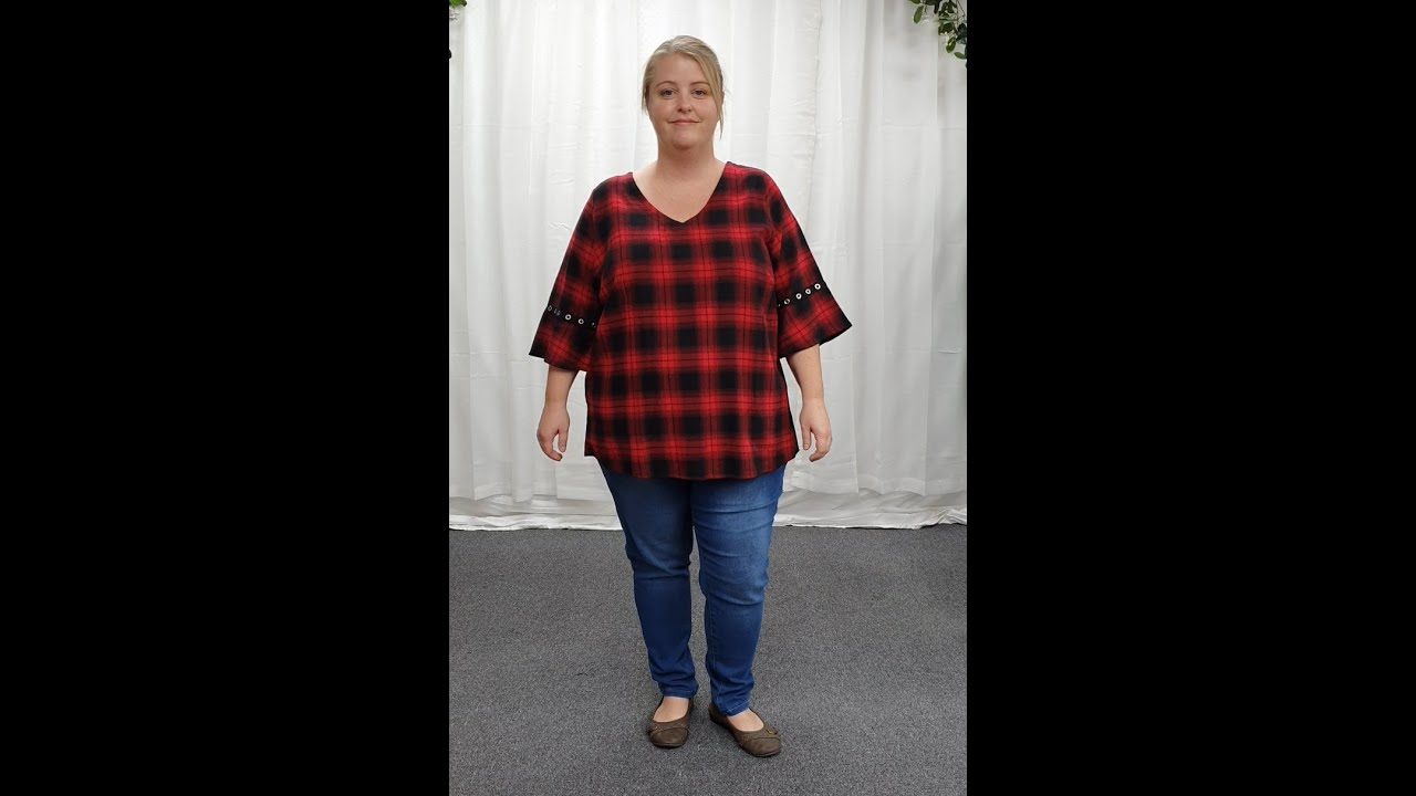 Plus Size Black Red Cotton Tartan Blouse