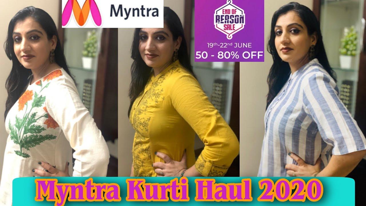 Myntra EORS (End Of Reason Sale) 2020 Kurti Shopping Haul|18-22 June -60%-80% OFF) Myntra Kurti Haul
