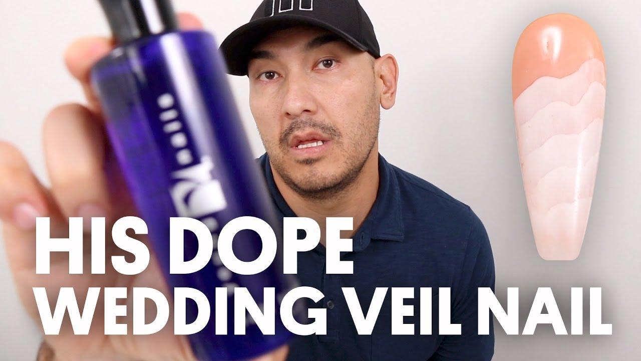 HIS DOPE WEDDING VEIL NAIL (ACRYLIC TEXTURED NAIL ART) - VLOG 19 ...
