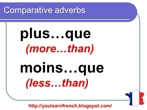 French Lesson 137 - Comparative adverbs in French - French Comparatives and superlatives
