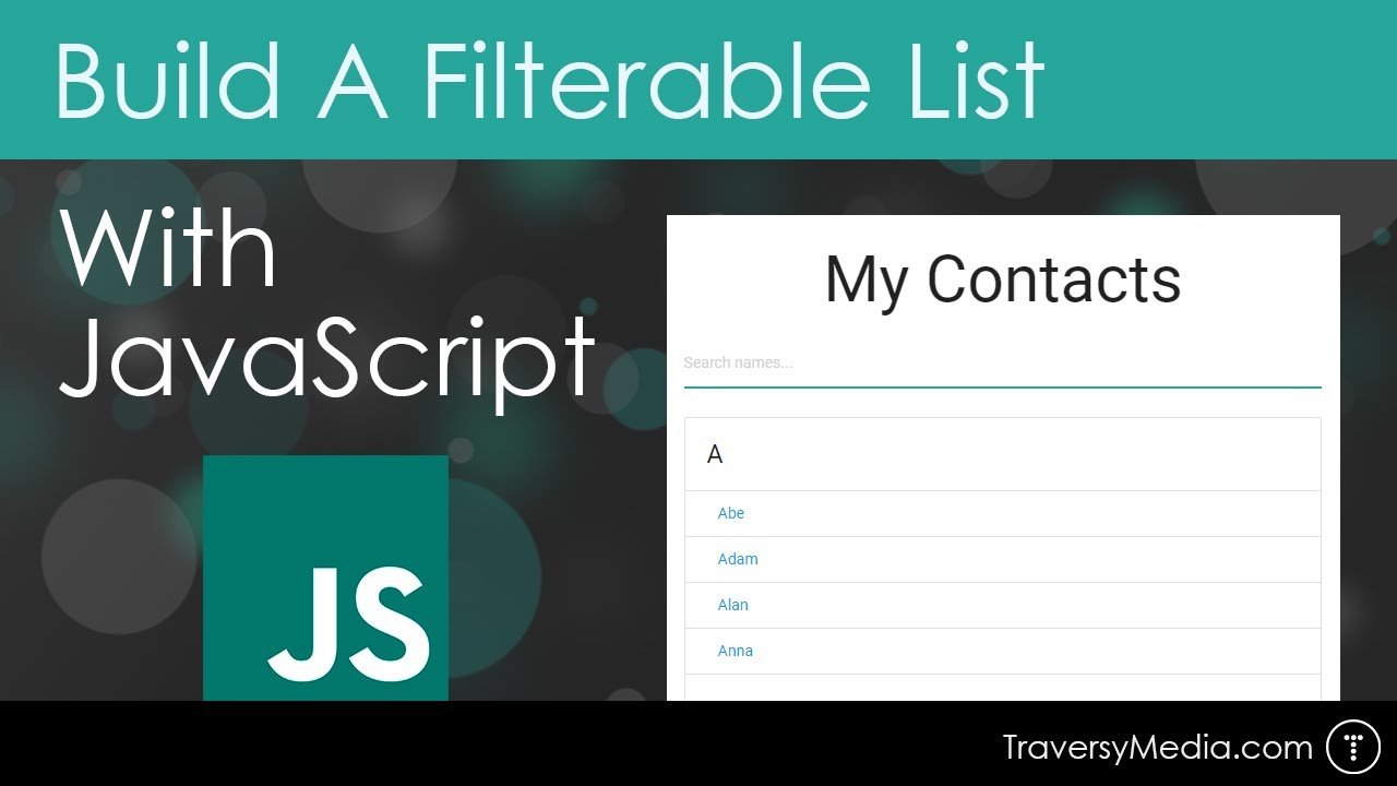 Build A Filterable List With Vanilla JavaScript