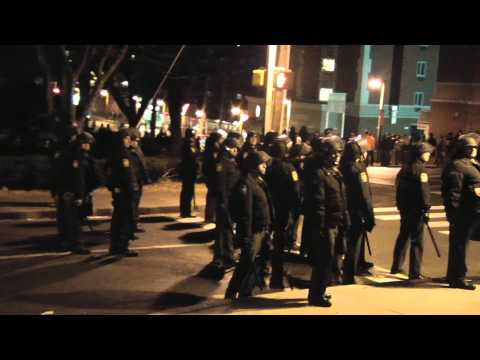 PENN STATE RIOT - COPS MARCHING ON BEAVER