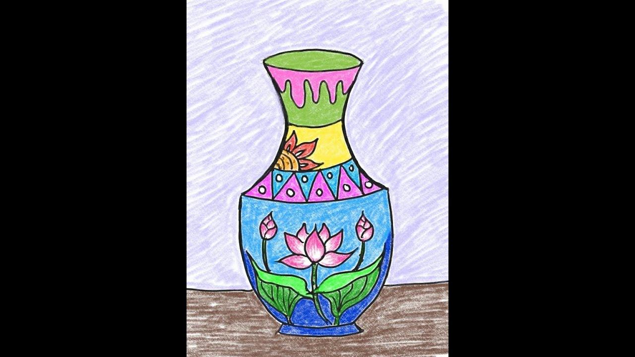 Dạy vẽ cho bé( cách tạo dáng và trang trí lọ hoa – how to decorate and decorate flower vases)