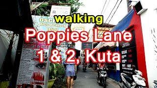 [Bali] Poppies Lane 1&2, Kuta  / take a walk around Bali 2017走在巴厘岛  trip guide videoポピーズ [4K]