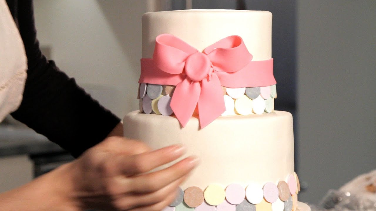 Make Fondant Ribbon & Bow Wedding Cakes
