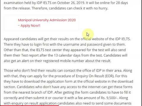 IDP IELTS Result to be announced by this date for the 26 Oct 2019 exam, ...