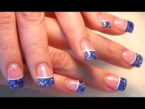 Blue Glitter French Acrylic Finger Nails