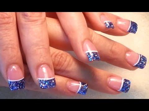 blue glitter french acrylic finger