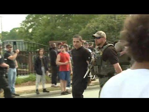 Georgia town shuts doors during neo-Nazi protests