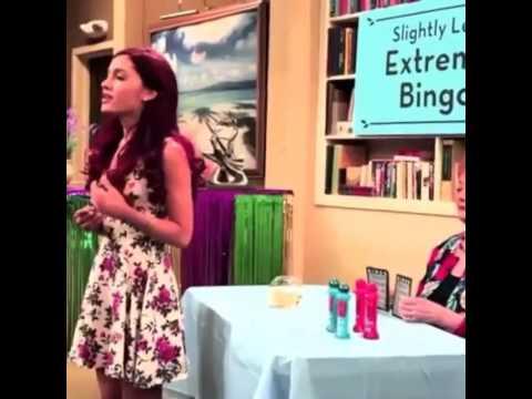 Ariana Grande behind the scenes of Nickelodeon