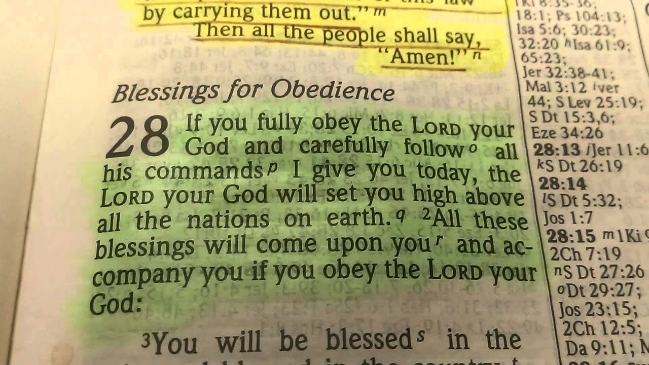Bible Reading - Deuteronomy 28: 1 - 2 - YouTube