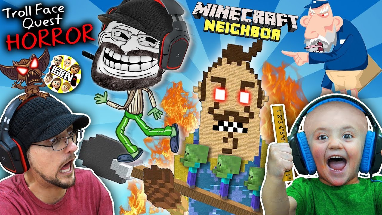 TROLL FACE QUEST Horror 1 + LAVA vs HELLO NEIGHBOR MINECRAFT w Shawn (FGTEEV Boys)