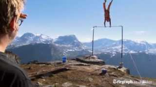 A Norwegian daredevil had a lucky escape when a stunt he was filmin...