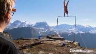 A Norwegian daredevil had a lucky escape when a stunt he was filmin...