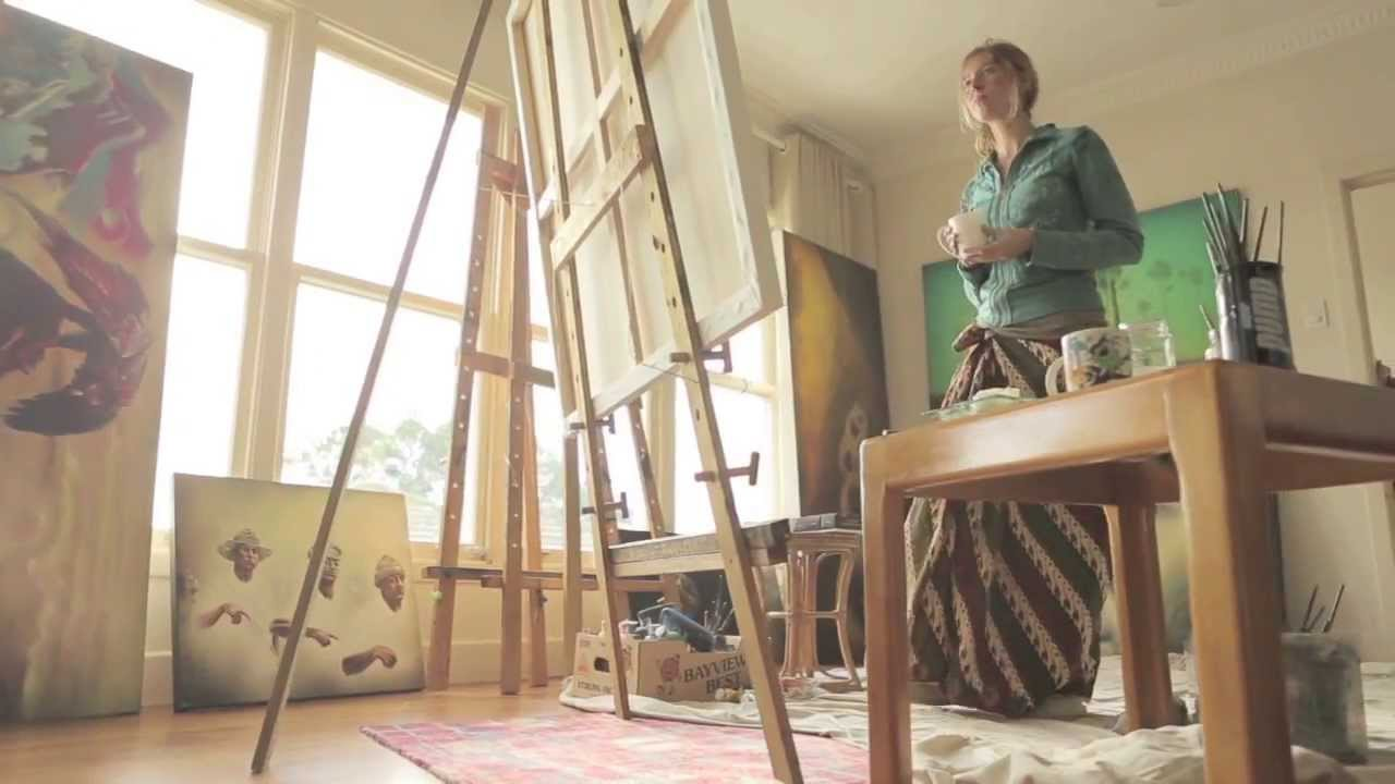 Sofia Minson Painting An Oil Portrait Of An Old Woman In Her Art Studio