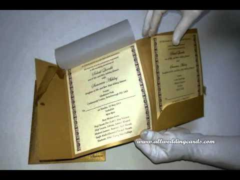 W-4363, Rust Gold Color, Shimmer Paper, Custom Wedding Invitations, Designer Cards Indian