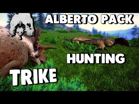 The Isle - ALBERTOSAURUS PACK HUNT NEW TRICERATOPS, HUNTING & STALKING PREY ( Update Gameplay )
