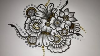 Mehndi drawing: Flower motif 1