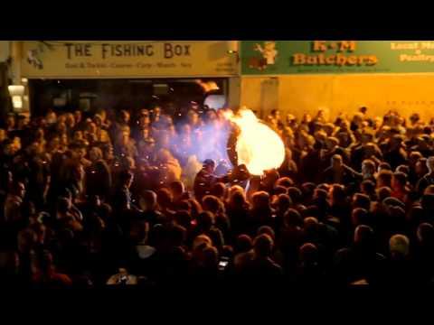 Insane tar barrel burning festival in Ottery St Mary