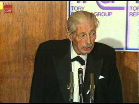 Harold Macmillan giving a speech on Margaret Thatcher's Privatisation policies