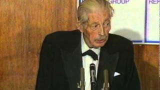 Harold Macmillan giving a speech on Margaret Thatcher