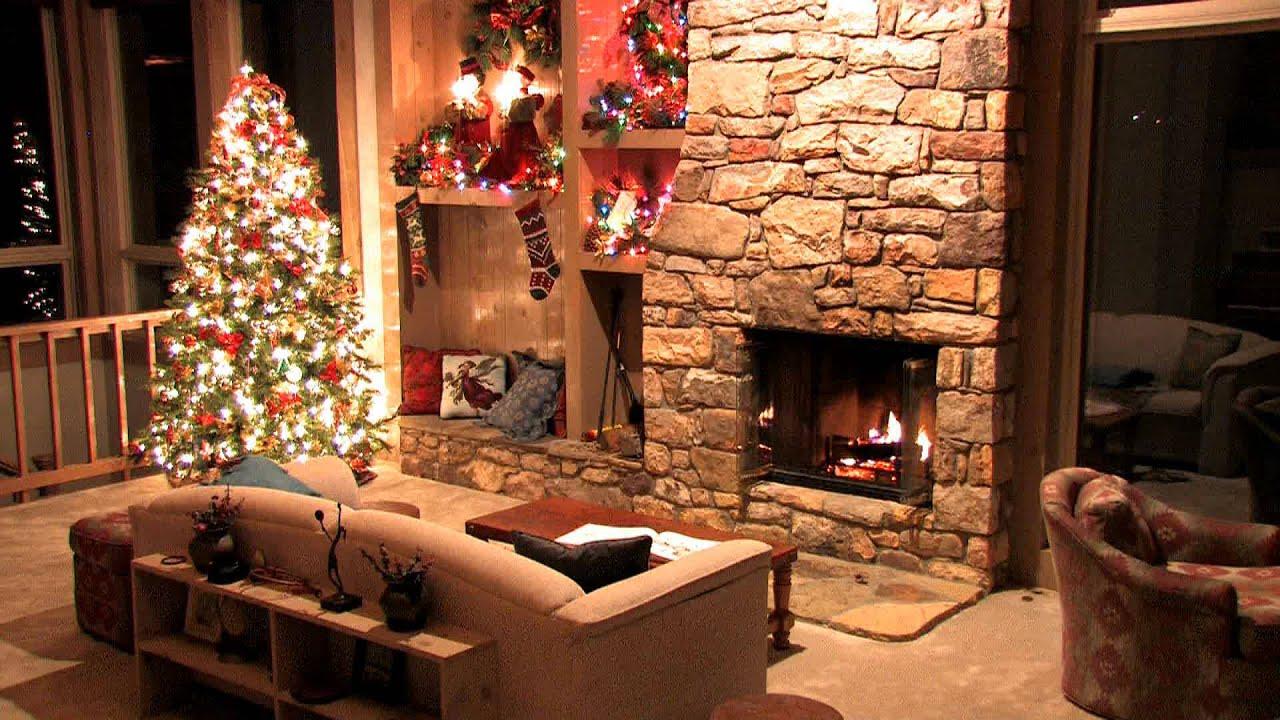 Christmas DreamScene YouTube - Christmas cabin fireplace scenes