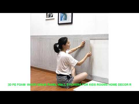 3D PE Foam  Wood Grain Panel Wall Stickers For Kids Rooms Home Decor R
