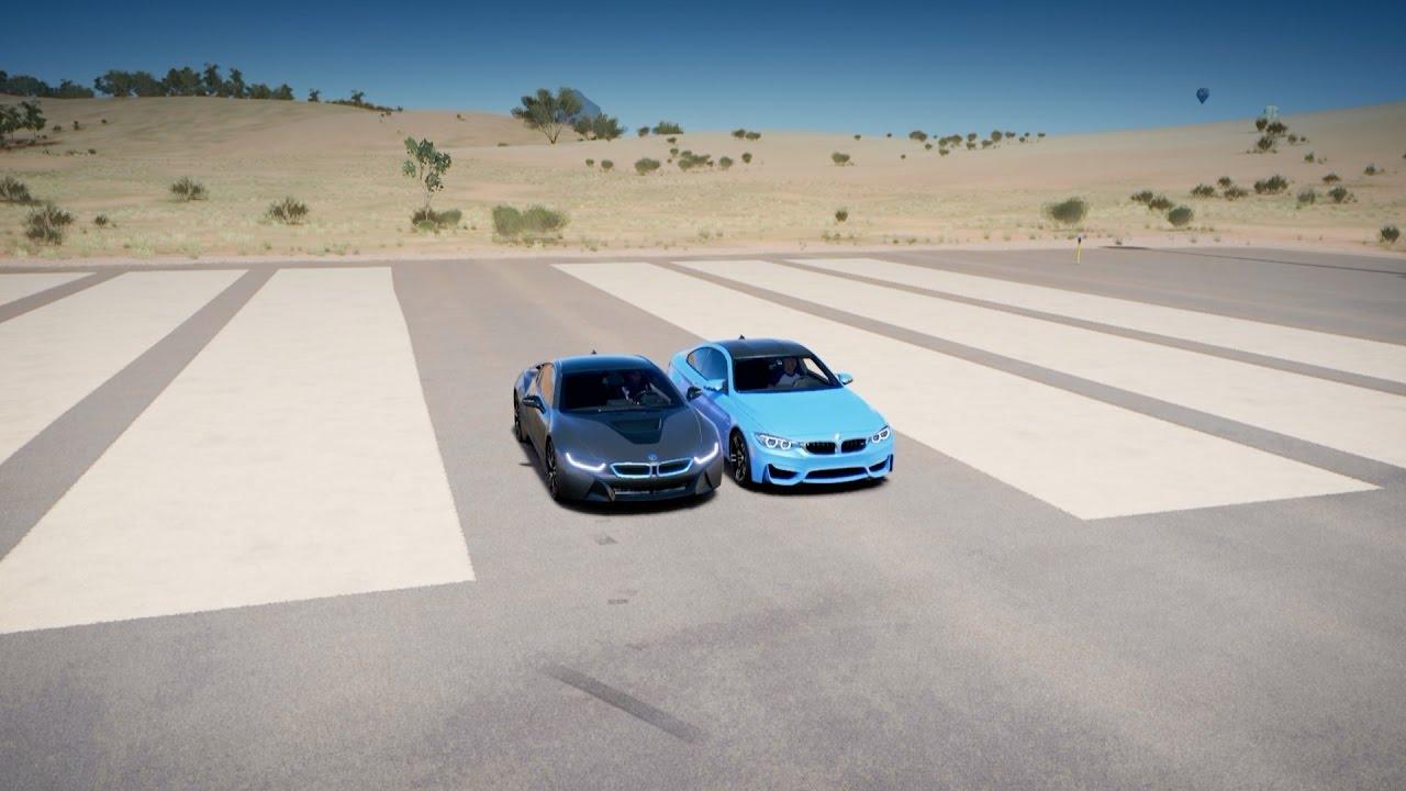 Bmw I8 Vs Bmw M4 Drag Race Forza Horizon 3 Youtube