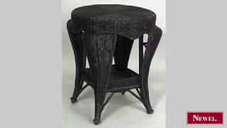 Antique American Victorian Round Wicker End Table With