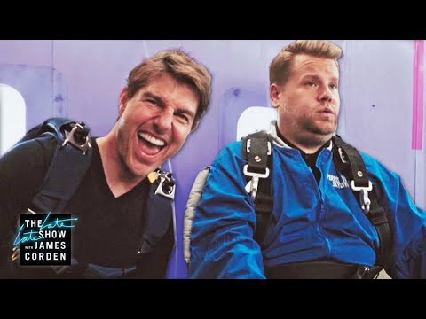 Tom Cruise vs. Forces James Corden To Skydive