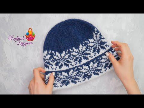 Жаккардовые шапки спицами
