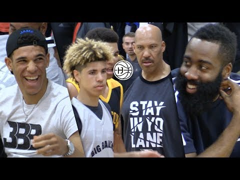 LaMelo Ball PLAYING IN InFront oF James Harden and Lonzo!! Big Ballers vs Compton Magic