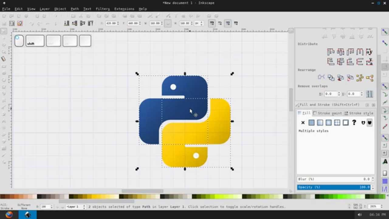 Inkscape: How to make Python logo - إنشاء شعار بايثون بواسطة إنكسكيب