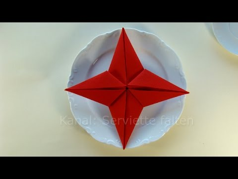 Napkin Folding Christmas: Star   How To Fold Napkins For Christmas. Serviette  Falten