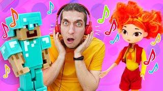 Смешное видео шоу - Челлендж в наушниках! - Игрушки Сказочный Патруль и Майнкрафт.