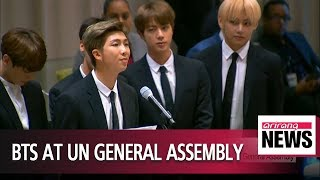 Korean boyband BTS become first K-pop group to speak at UN General Assembly