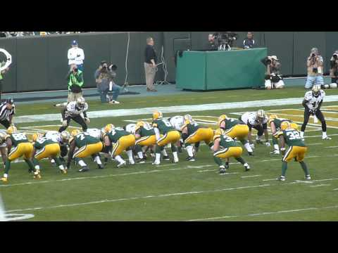 Graham Harrell fumble on goal line Packers vs Saints 9/30/12 Lambeau Field