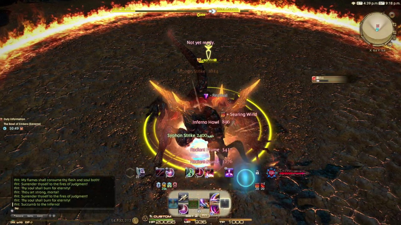 FFXIV Ifrit Extreme solo DRK lv 70 Whistle run