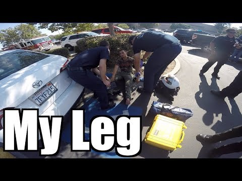 Motorcycle gets HIT by a TRUCK! |Messed up his Leg