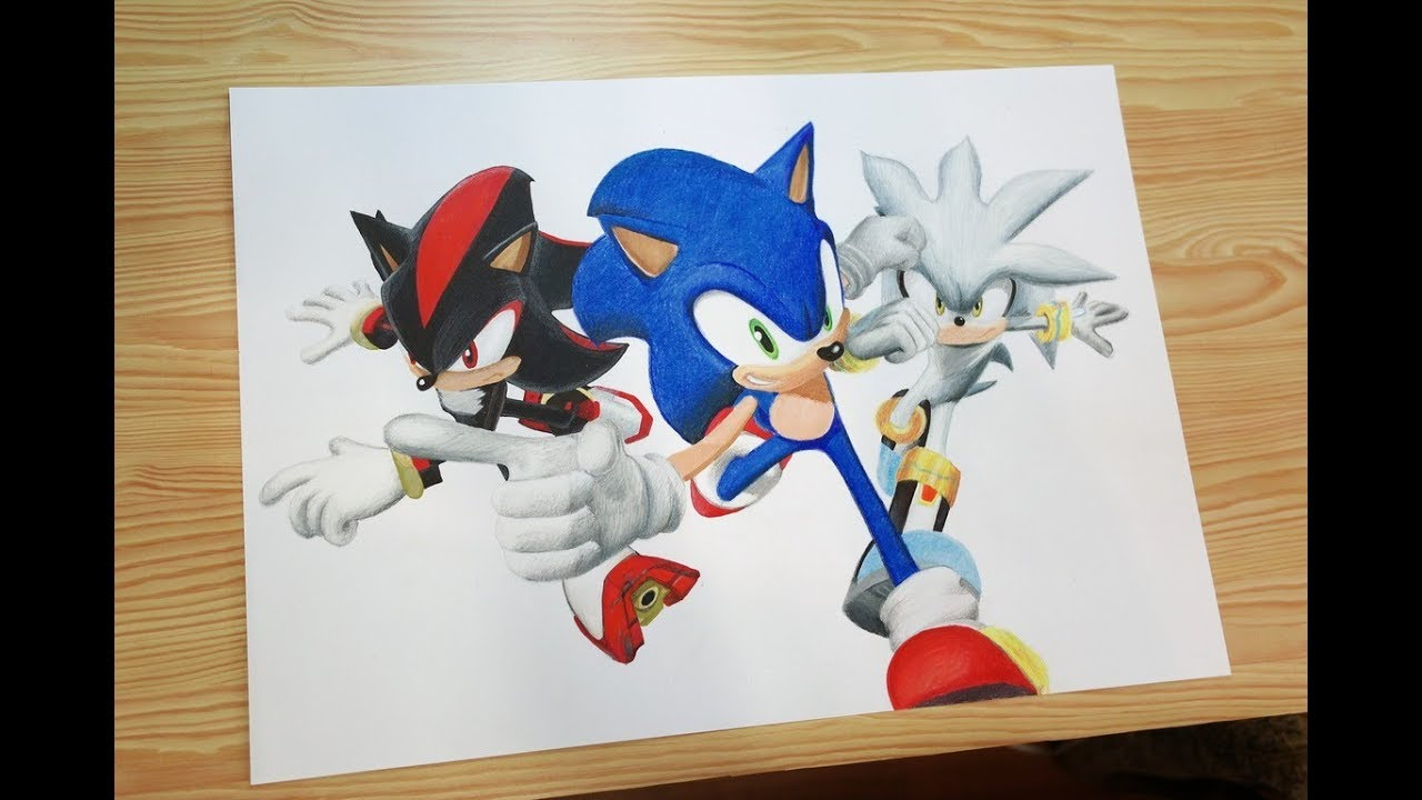 Speed Drawing Sonic, Shadow and Silver - YouTube