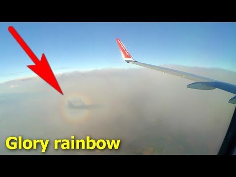 Glory Rainbow Ring around the Plane's Shadow on a Cloud (optical phenomenon)