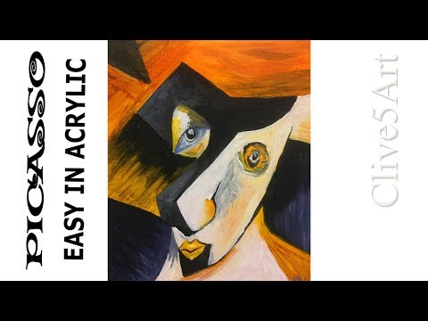 Picasso Cubist style Acrylic painting for beginners, Acrylic painting,clive5art