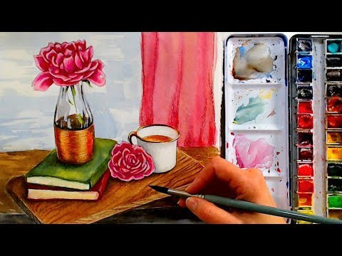 LIVE! Cup of Tea with Peonies Watercolor Tutorial 12:30pm ET