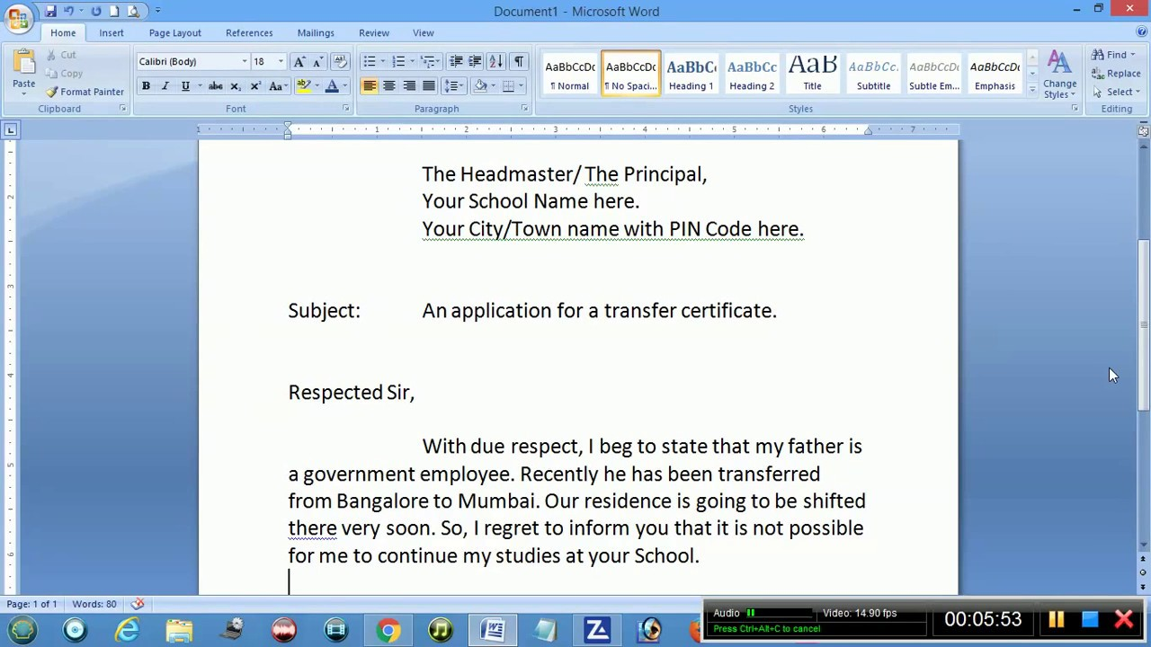Application Letter For Absent